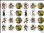 24 x Shrek 1.6'' rice paper cake toppers tops free post